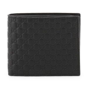 Gucci Black GG Guccissima Bifold Wallet Card Case